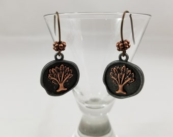 """Copper and Pewter """"Tree of Life"""" Earrings"""