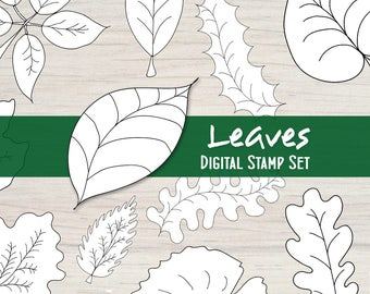 Leaves Digital Stamp Set - 12 Black and White Nature Embellishments for your Mixed Media, Scrapbooking, Coloring, Art Journal, Card Making
