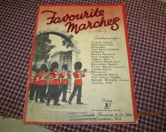 Vintage 1932 Keith Prowse & Co London Sheet Music Book Favorite Marches