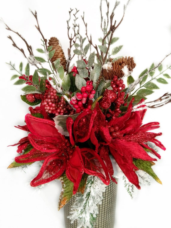 Christmas centerpiece holiday floral arrangement poinsettia