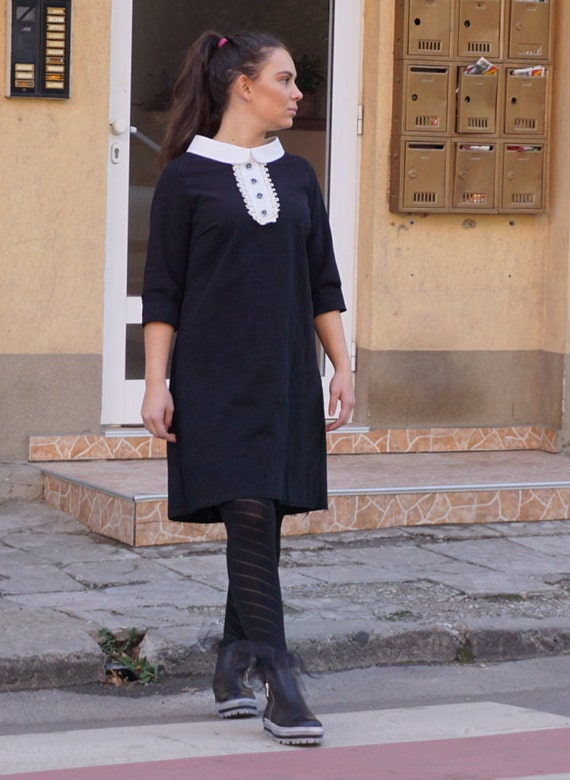 Stylish Elegant Classy Dress, Hot Black White Collar Business Dress, Party Dress, Office Wear