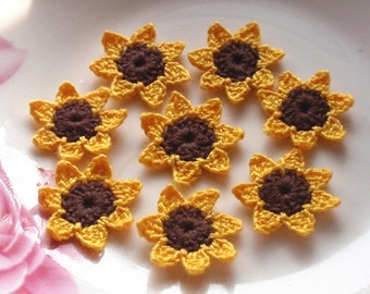 8 Mini Crochet Sunflowers in 1 inches YH-134