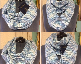 Upcycled Repurposed Flannel Infinity Scarf with Zipper Pocket. Two Loops - Blue & White. Great Travel Gift.