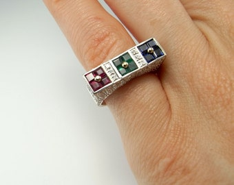 Ruby Ring Vintage Sapphire Ring Vintage Sapphire Ring Gold Emerald Ring Vintage Pave Diamond Ring Pinky Ring Gold Ring Women 18K Vintage