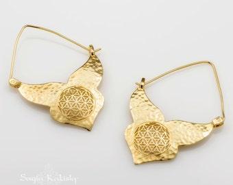 Gold Flower Of Life Earrings, Sacred Geometry Earrings, Gold Boho Earrings, Statement Earrings, Hammered Gold Earrings, SAGIA