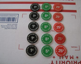 15 Terrell's I.G.A. Union City Tn. food stamp credit tokens 1 C-5-C-25-C tokens
