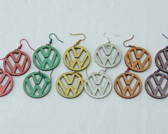 VW Laser Cut Earrings in Various Colours