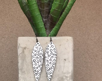 Long Leaf Black and White Leather Earrings