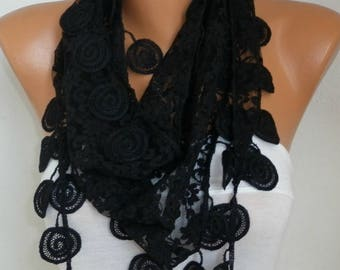 Black Lace Scarf ,Spring Summer Scarf,Spiral Trim,Shawl Cowl Scarf Bridesmaid Gift Gift Ideas For Her Women's Fashion Accessories