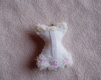 Felt bridal Bustier, lace and beads