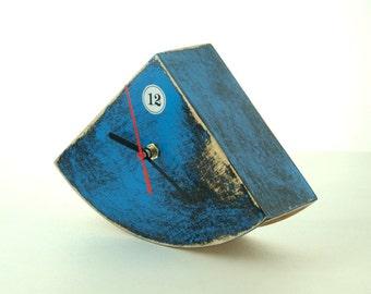 Blue Wood Desk Clock, Table hand painted clock, Cute gift ideas, Distressed Wood clock, Blue home decor, Blue black home decor, gift for Mom