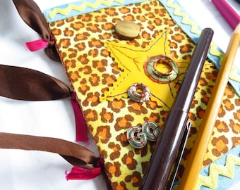 Leopard Star - Recycled journal - repurposed eyeglass case, blank white pages, handbound, leopard print, yellow star, grommets, sketchbook