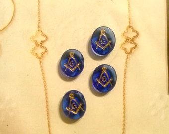 4 Masonic Vintage 14x12mm Glass Sapphire Blue Stones