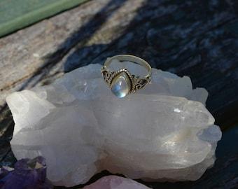 Rainbow Moonstone Ring Genuine Moonstone Natural Moonstone
