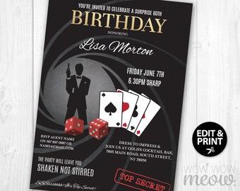 007 James Bond Birthday Invitation 007 Birthday Party