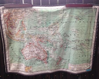 Maps on fabric maps on home decorventure by mapobsession oceania map minky blanket vintage australia map baby cuddle blankie shoulder wrap wheelchair lap blanket ready to ship gumiabroncs Image collections