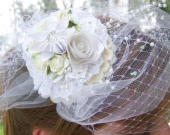 Bridal Veil Fascinator Birdcage Veil With Handmade Origami Paper Flower Decor
