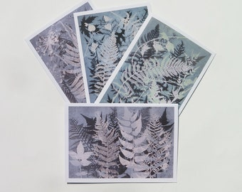 Pack of 4 Blank art card greetings cards A6 M1ixed Ferns Modern floral botanical design from original nature print by Stef Mitchell