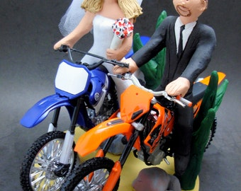 Bride on a Yamaha Dirt Bike Wedding Cake Topper, Anniversary Gift for Motorcycle Riders, Dirt Biker's Wedding Anniversary Gift.