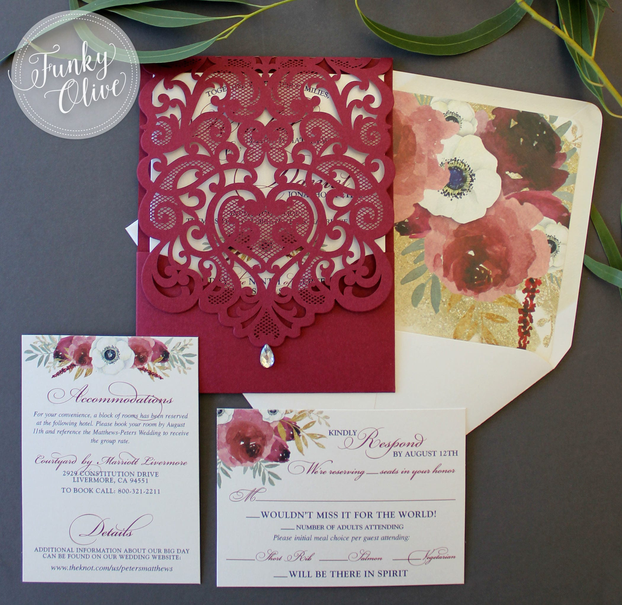 Burgundy Laser Cut Wedding Invitation Package Watercolor