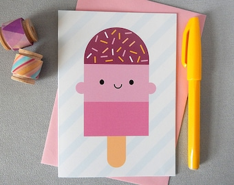 Kawaii Ice Lolly / Popsicle Card - Summer Holiday Vacation - Pink, Cherry, Strawberry, Sprinkles