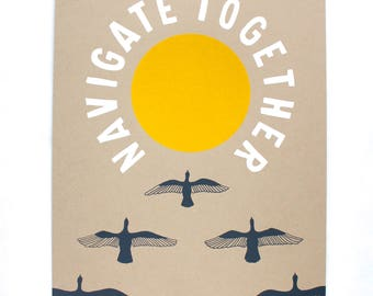 Navigate Together Poster Print - Large Wall Art, Bird Art Print, Bird Print, Flying Geese, Red Sun Print, Wild Geese, Nature Art, Poster Art