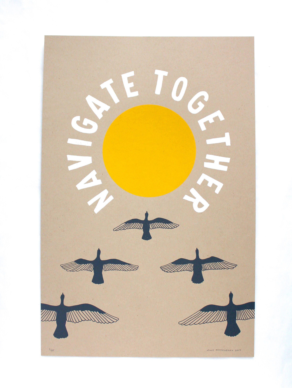 Navigate Together Poster Print Large Wall Art Bird Art