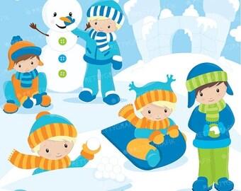 80% OFF SALE Snow boys clipart commercial use, vector graphics, digital clip art, digital images - CL623