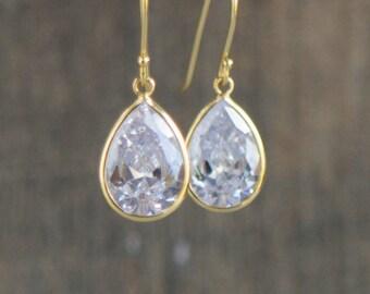 Gold Earrings, CZ Diamond Earrings, Dangle Earrings, Sparkling Earrings, Bridal Earrings, Gift for Her, Cubic Zirconia Tear Drop Earrings