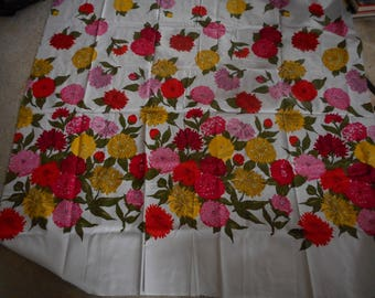 Vintage 1950's, 60's Bates Fabric Bright Red, Pink, Yellow, Orange Large Scale Floral Fabric Remnant