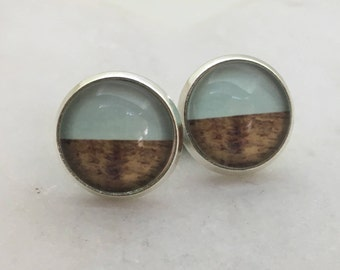 Blue and wooden glass dome stud earrings. 14mm with surgical steel and nickel free posts