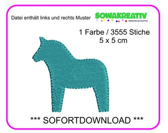Embroidery File Dala horse 5 x 5 cm-Instant download