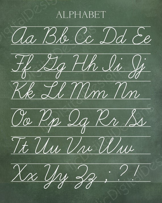 Vintage Alphabet Cursive Classroom Poster Digital Chalkboard