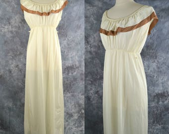 1970s Ivory and Tan Off The Shoulder Nylon Nightgown, Shawl Collar