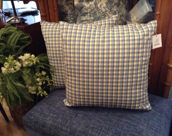 Gorgeous Custom Decorative Designer Pillows with French Country Plaid - Three Available Each Sold Separately