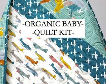 Baby Quilt Kit, Airplanes, Organic Cotton, Fabric, Boy Bedding, Nursery, Baby Boy, DIY, Birch Fabric, Trans-Pacific, Teal Fabrics, Kids Room