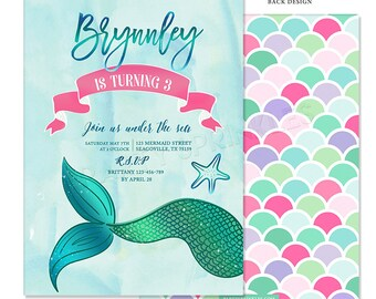 Teal & Pink Under the sea Mermaid Tail Birthday Party invitation - Summer - Double Sided Printable Digital Design
