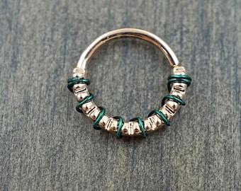 Grooved Septum Ring Rose Gold Daith Piercing Rook Earring Hoop