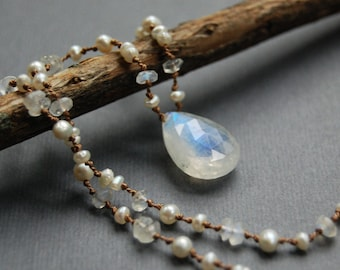 Rainbow Moonstone and Pearl Hand Knotted Necklace, Silk Beading Cord, Tin Cup