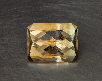 Lab Created Citrine Unique One of a Kind BiColor Loose Large Diamond Checkerboard Faceted Bar Cut Gem Stone