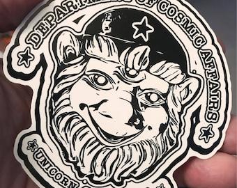 "Dept Of Cosmic Affairs - Unicorn, CA 4"" vinyl CRB sticker"