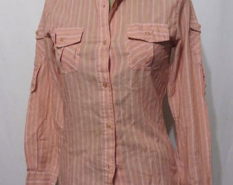 Vintage Blouse 70s Cotton Poly Button Pockets Roll Up sleeves Retro Indie Stripes Top Shirt