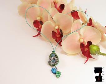 Necklace soutaches Jade Pendant-soutaches Necklace-soutaches choker-stone pendant-gift for her-Valentine