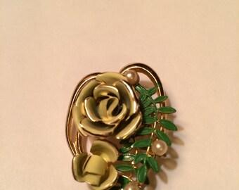 Vintage Brass Flower Brooch, Hand Painted Circa. 1950's