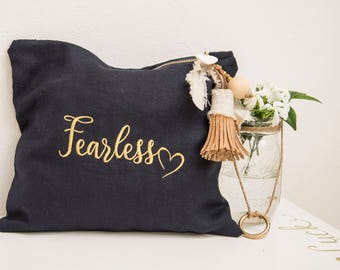 Blue Linen Purse with porcelain heart and cork Tassel - Embroidery