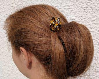 Amber Hair Comb Bridal Headpiece Wedding Hair Piece OOAK Bridal Pin Golden Brown Hair Medium Hair Stick Vintage Hair comb Topaz Hair Clip