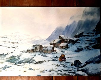 Peruvian Andes Mountains Watercolor Painting by J Hurtado L, Andes Mountains Painting, Indian Village, South American Art, JHurtado Art
