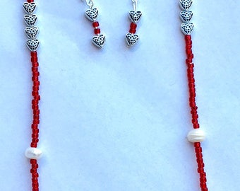 Peace & Love necklace/earring set