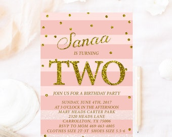 Pink Glitter Birthday Invitation Any Age And Gold Girl