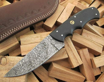 "9""Superior Quality Custom Hand Forged Damascus Steel Hunting / Skinning / Camping / EDC Knife Black Micarta Handle SQ-23"